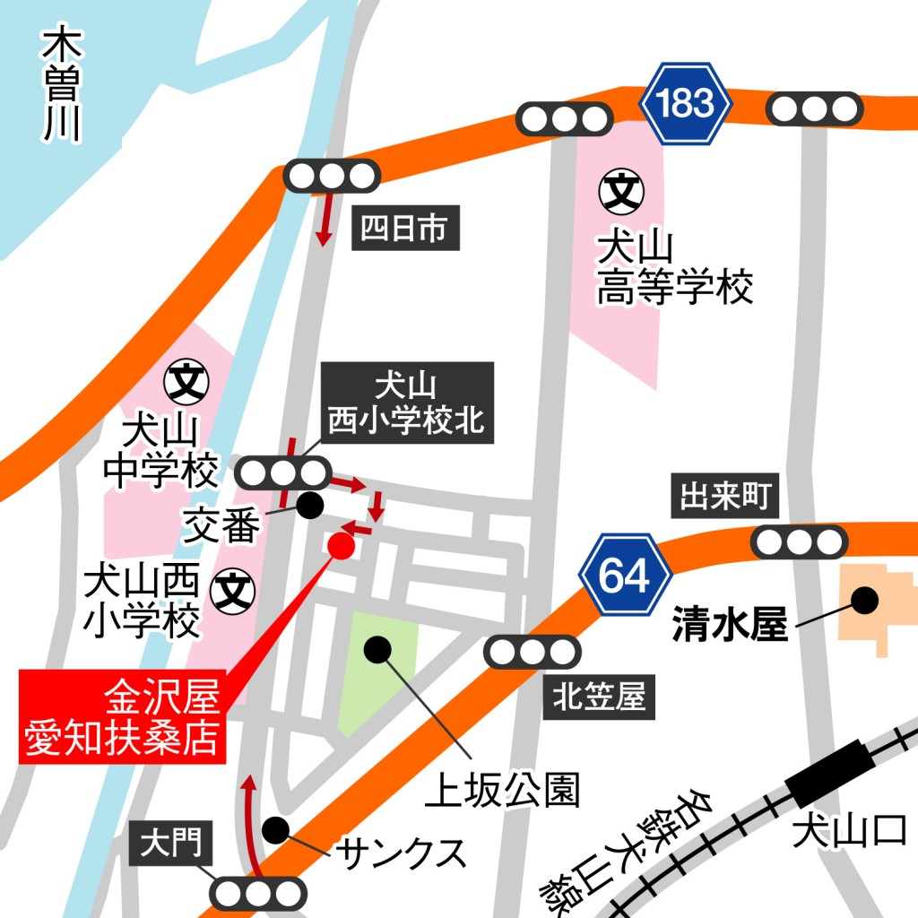 愛知扶桑店の地図